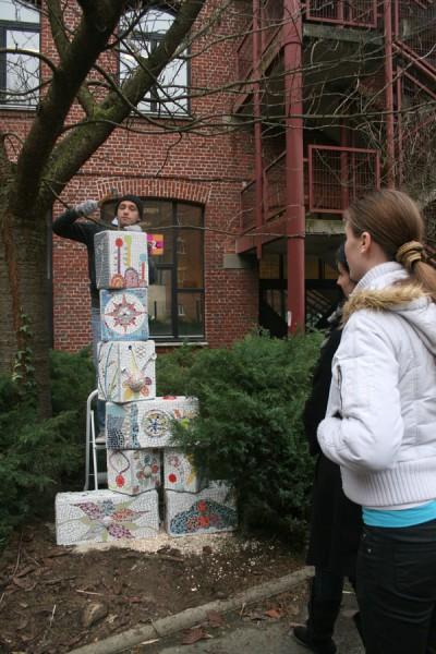 Sculpture en mosaïque pour la cour de l'école de la 2ème chance de Roubaix